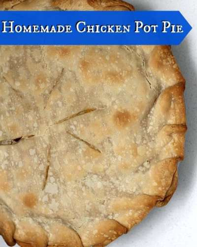 Homemade Easy Chicken Pot Pie is my idea of comfort food! Tender chicken, vegetables, and gravy, baked into a flaky pastry crust. This easy chicken pot pie recipe is a great use for turkey leftovers, too!