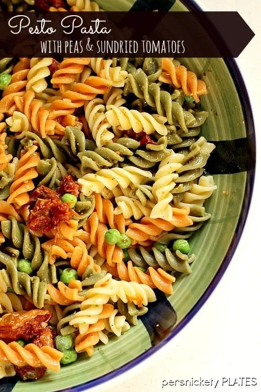 Pesto Pasta with Peas & Sun Dried Tomatoes   Persnickety Plates