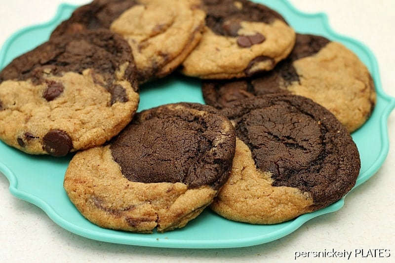 Peanut Butter Chocolate Swirl Cookies. Half peanut butter, half chocolate, all delicious. {Persnickety Plates}