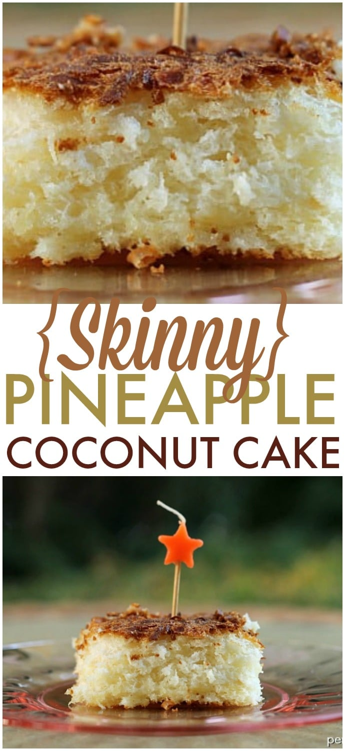 Skinny Pineapple Coconut Cake - four ingredients, one bowl, one spoon and you're on your way to this delicious cake!   www.persnicketyplates.com