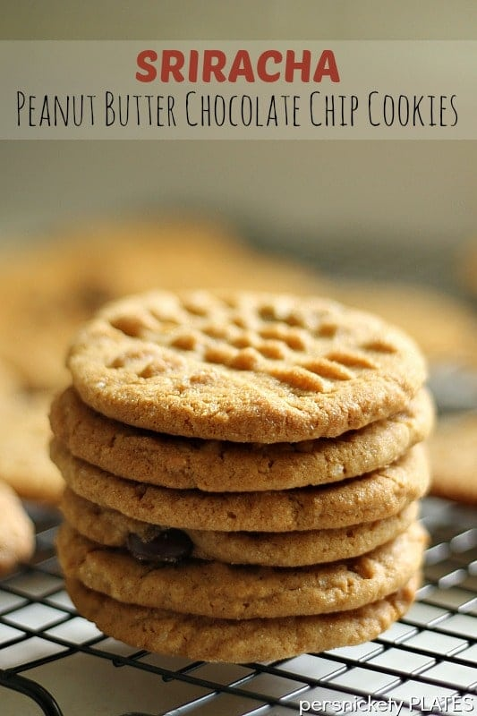 Sriracha Peanut Butter Chocolate Chip Cookies - a spin on the traditional cookie with little kick of heat!   Persnickety Plates
