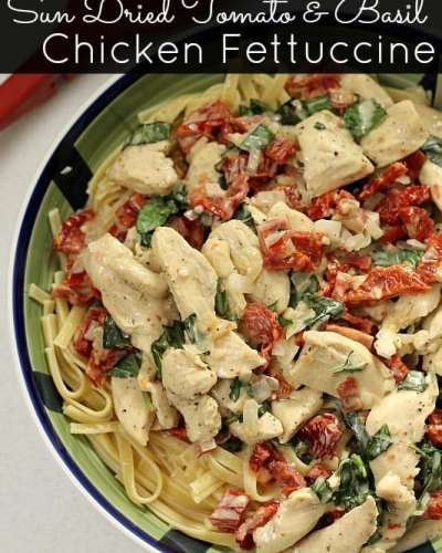 Homemade Sun Dried Tomato & Basil Chicken Fettuccine is a one pot meal and is a perfect comfort food dish.