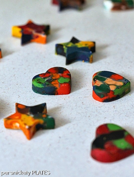 DIY Shaped Crayons - recycle your old broken crayons into fun new shapes!   Persnickety Plates