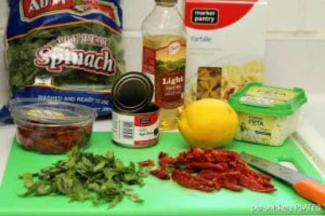 Pasta with Sun Dried Tomatoes, Olives, Spinach & Feta #cookingplanit