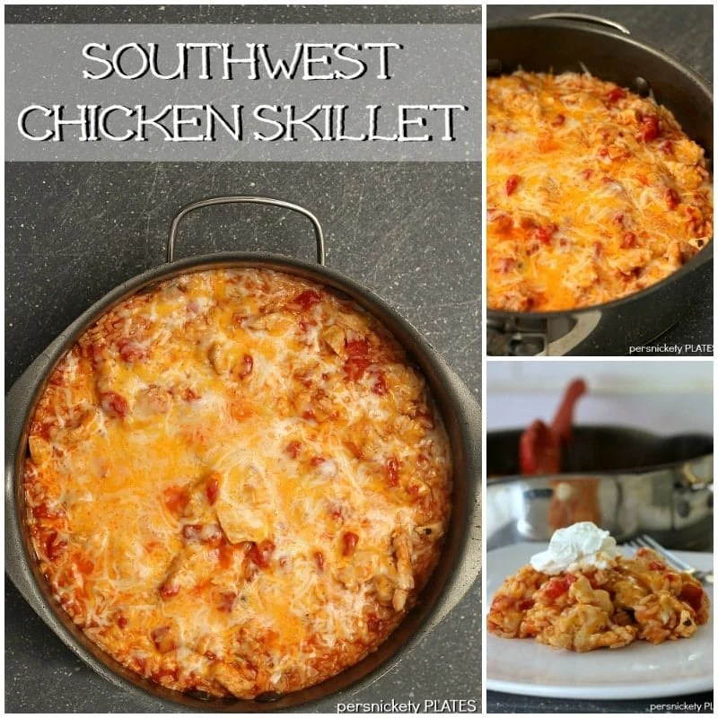 collage of southwest chicken skillet