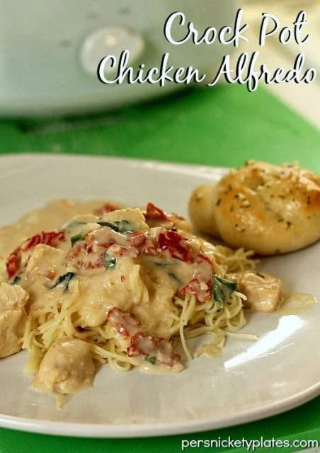 white plate of chicken alfredo with a garlic knot