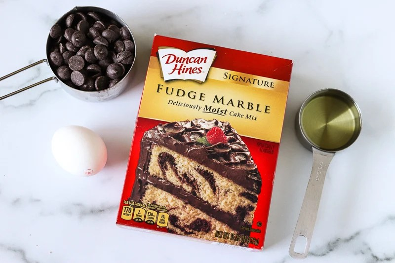fudge marble cake mix box and ingredients