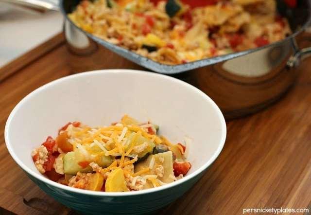 Mexican Turkey Veggie Skillet Lasanga | Persnickety Plates