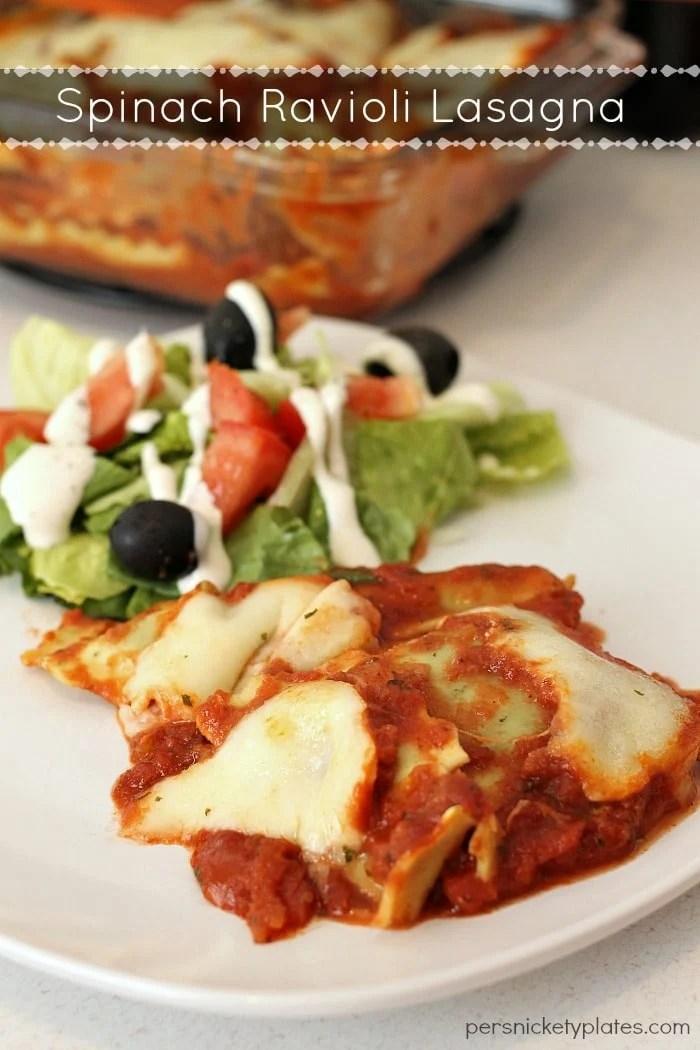 Super simple, semi-homemade, Spinach Ravioli Lasagna   Persnickety Plates