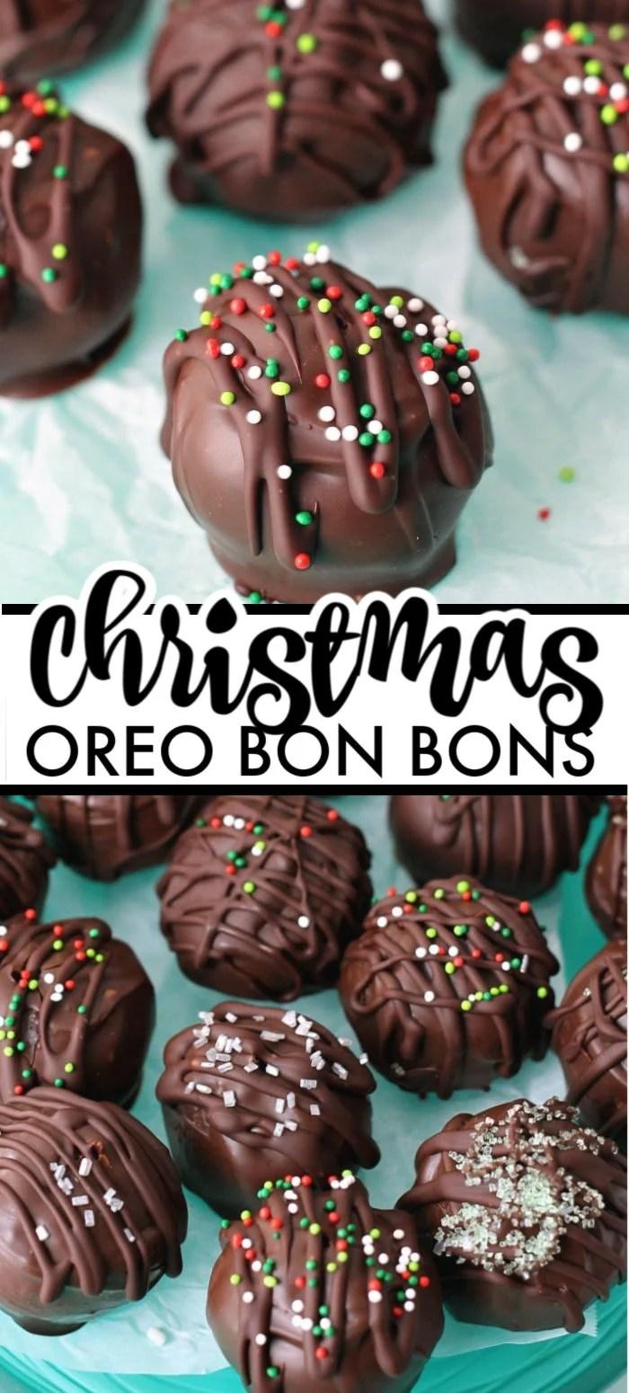 Christmas Oreo Bon Bons - super simple (5 ingredients), but impressive, no-bake bon bons using Oreo cookies! | www.persnicketyplates.com #oreo #dessert #bonbons #christmascandy #christmas #nobake via @pplates