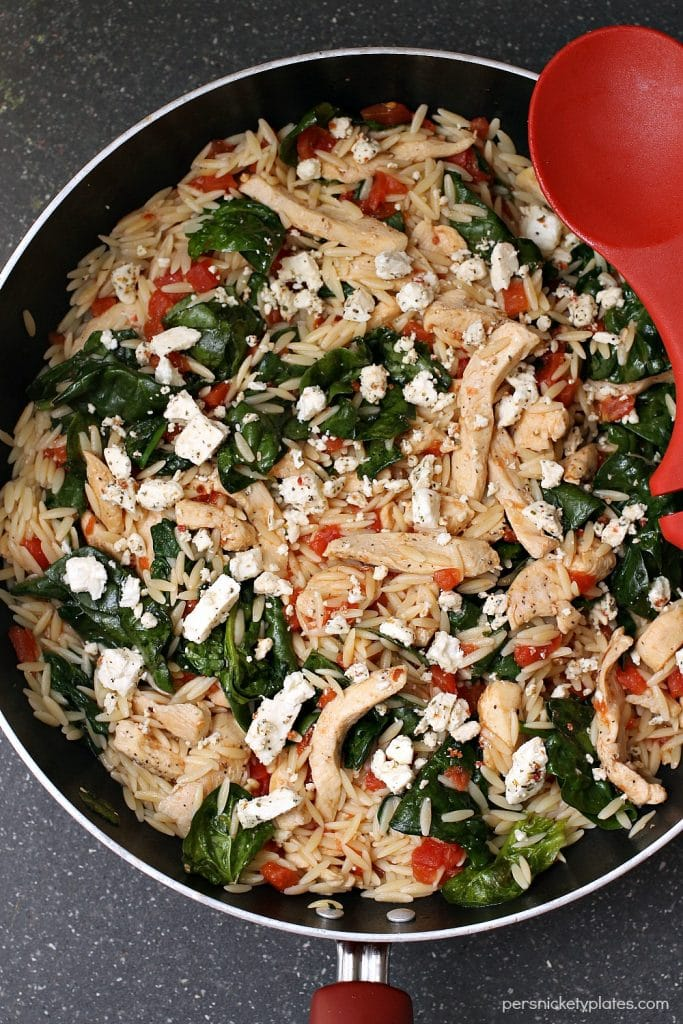 Chicken Spinach & Orzo Skillet | Persnickety Plates