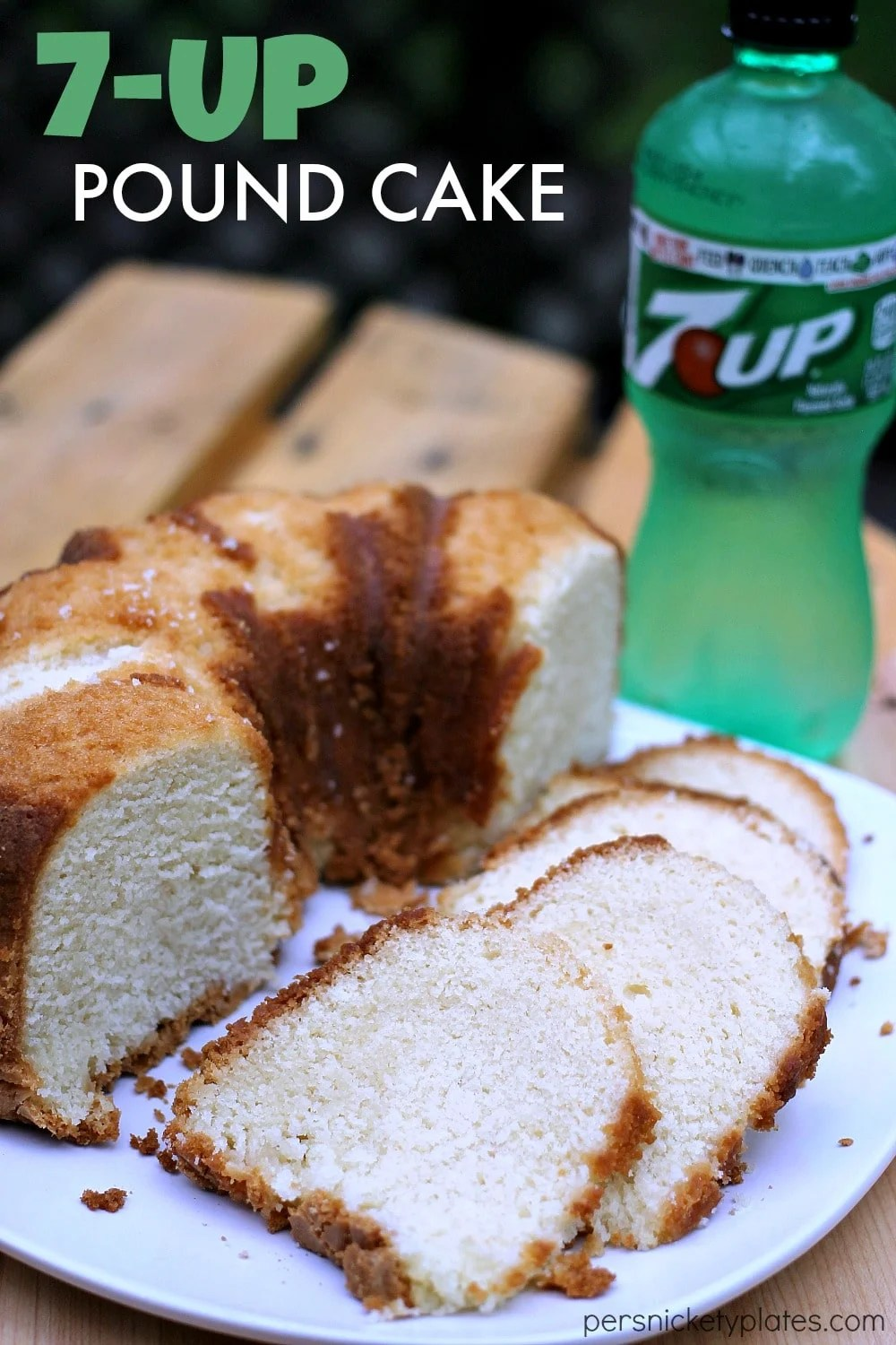 Simple, sweet, moist - 7-Up Pound Cake has a mild citrus flavor and a moist crumb. This classic pound cake is easy to make and a sure crowd pleaser. | www.persnicketyplates.com