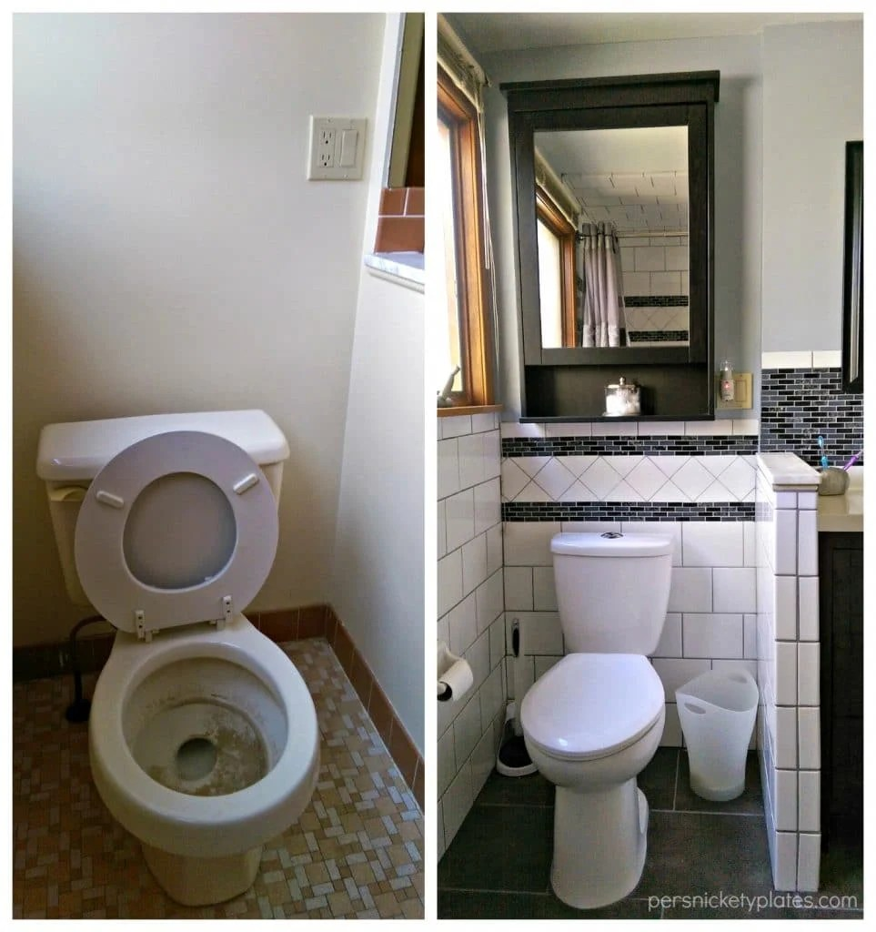 Toilet Area Before & After - tile around walls | Persnickety Plates