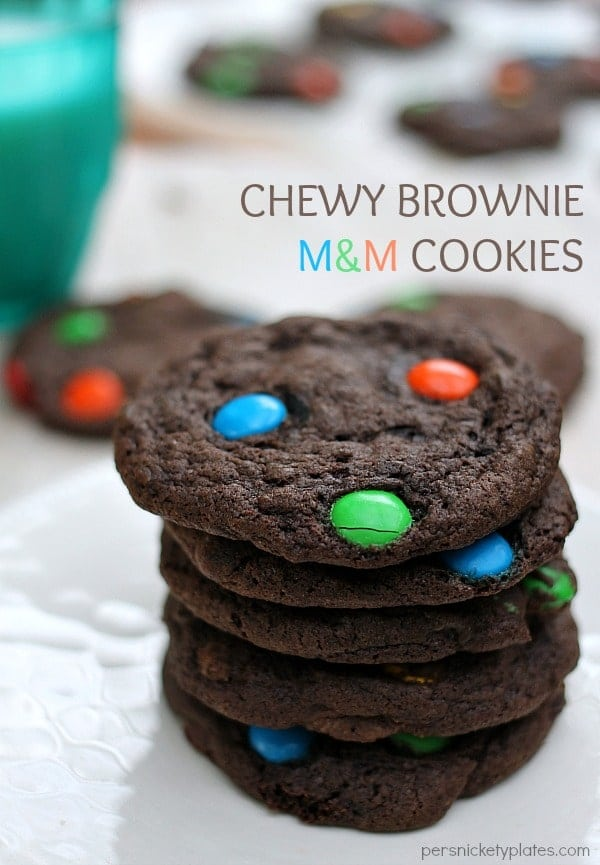 Chewy Brownie M&M Cookies   Persnickety Plates via @pplates