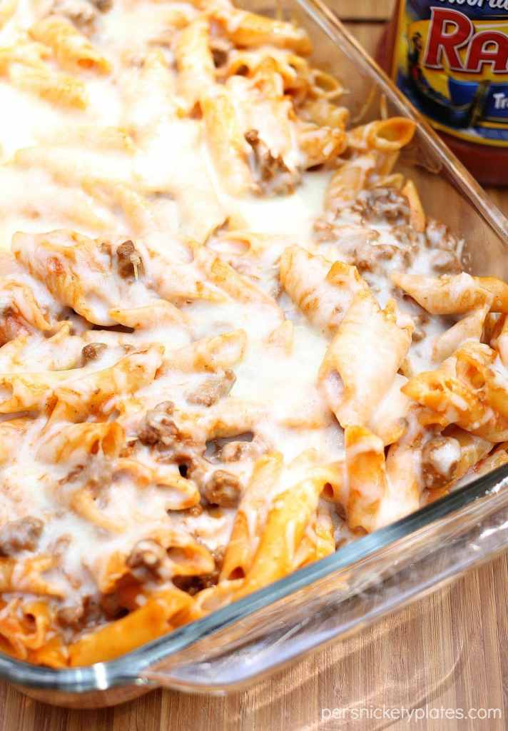 baked mostaccioli covered in melted cheese