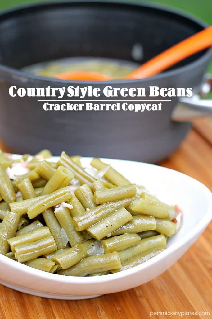 Country Style Green Beans are canned green beans jazzed up with bacon and onion. A country favorite and a Cracker Barrel copycat. #sp