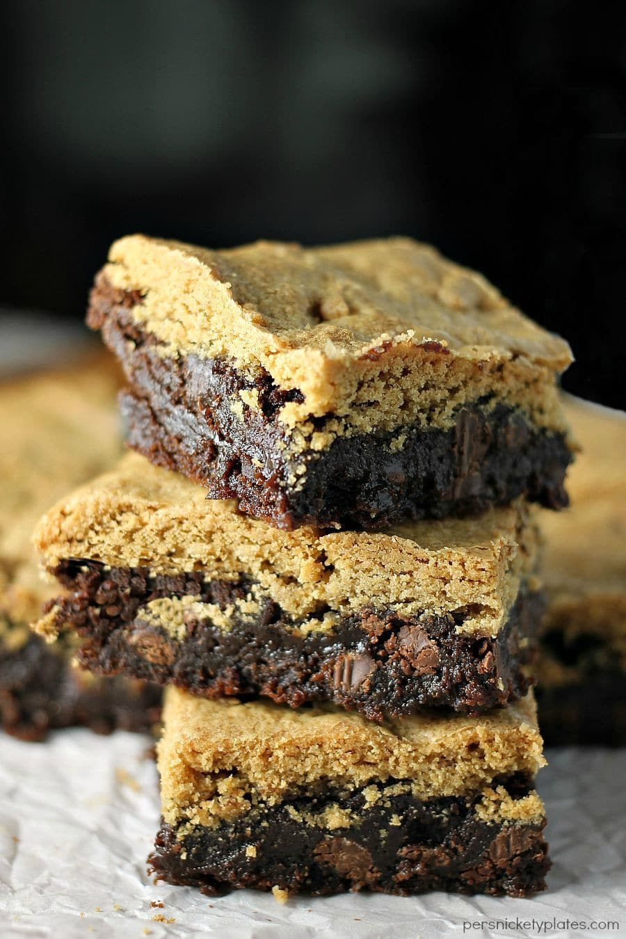 Peanut Butter Brookies - a layer of brownie topped with a layer of peanut butter cookies - the best of both worlds! | Persnickety Plates AD