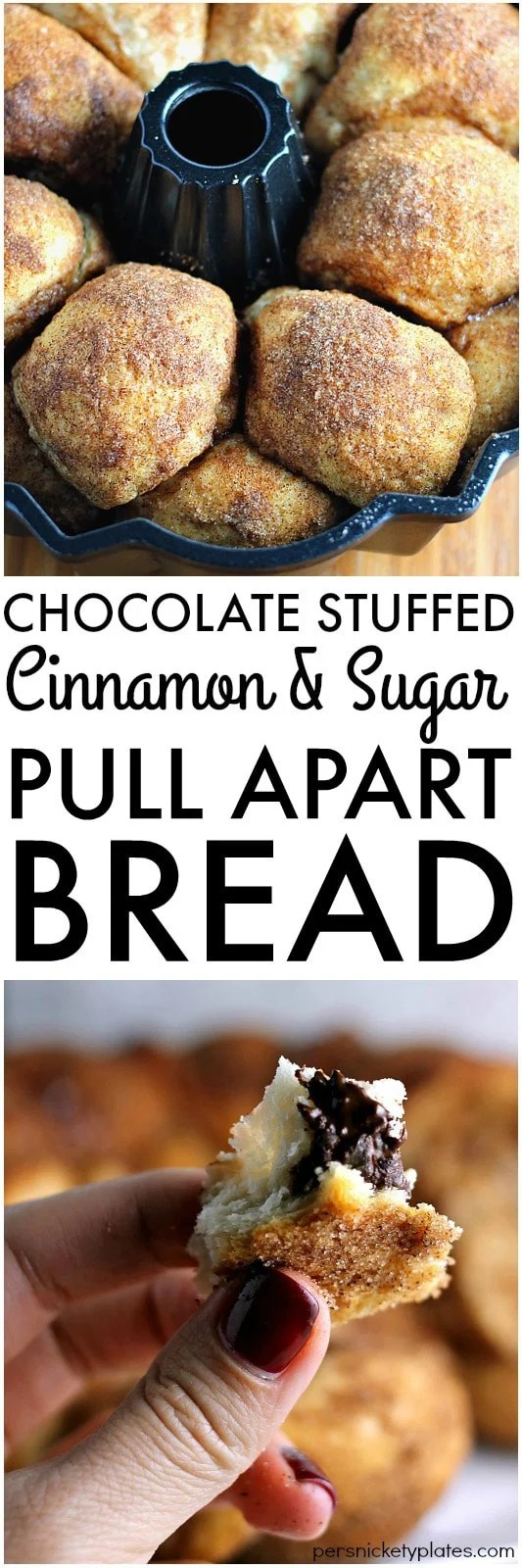 Chocolate Stuffed Cinnamon & Sugar Pull-Apart Bread - a long title for a simple & delicious recipe that only takes 5 ingredients and about 30 minutes to put together. | Persnickety Plates AD #WarmTraditions