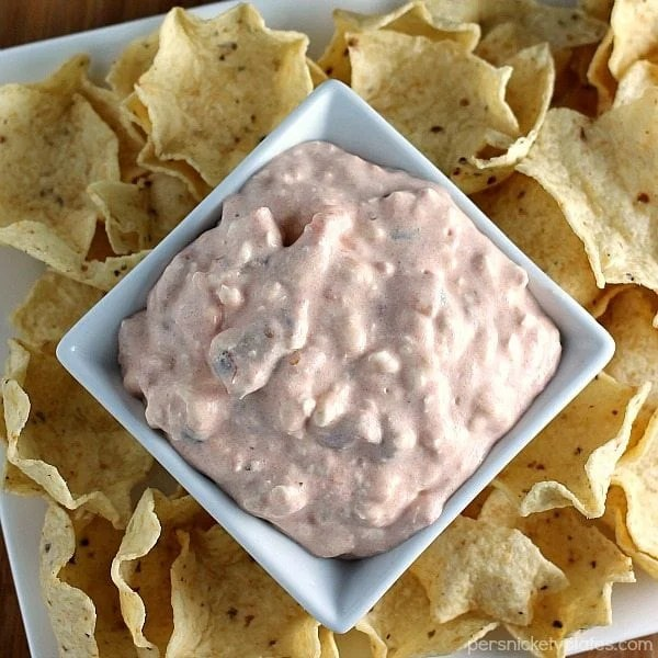 close up of creamy salsa dip in bowl with tortilla chips