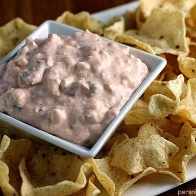 Two Ingredient Creamy Salsa Dip - perfect to throw together for a last minute party addition!   Persnickety Plates