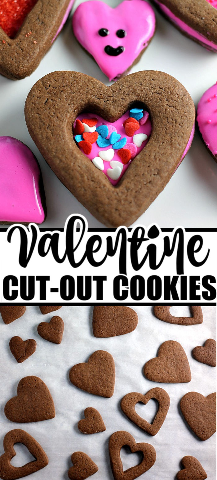 Chocolate Frosted Valentine Cookies start with a simple chocolate roll-out cookie base, topped with frosting, and then sprinkled for Valentine's Day! | www.persnicketyplates.com #valentinesday #cookies #chocolate #easyrecipe #dessert