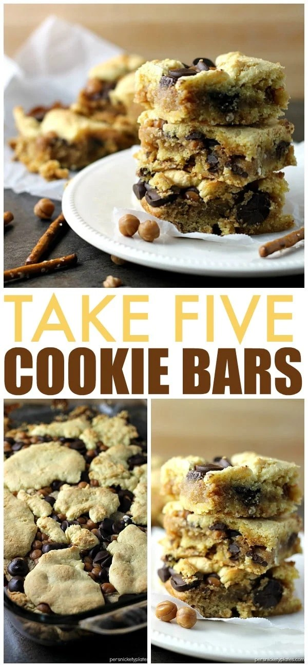 Take 5 Bars are my favorite lately and these cake mix cookie bars have all the Take Five flavors - pretzel, caramel, peanut butter, and chocolate! | Persnickety Plates via @pplates
