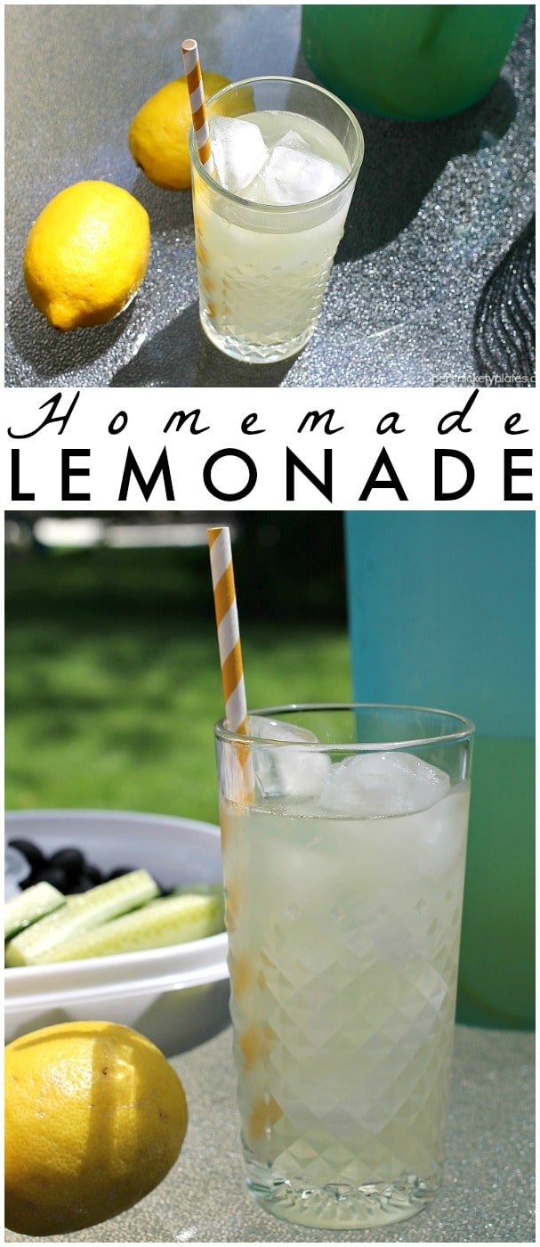 Homemade Lemonade with just the right amount of sweetness is the perfect, easy four-ingredient drink for your next gathering. | Persnickety Plates #ColorYourSummer via @pplates