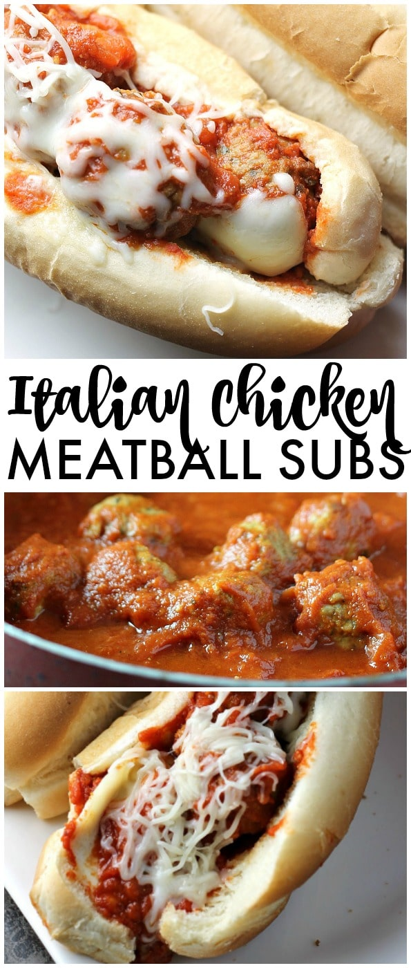 Easy Italian Chicken Meatball Subs smothered in a homemade marinara sauce and topped with provolone and mozzarella cheese! | Persnickety Plates AD via @pplates
