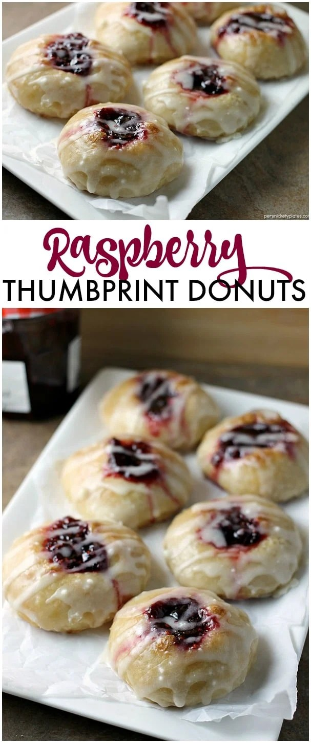 Two ingredients Raspberry Thumbprint Donuts are the perfect breakfast treat. Great to make with your kids! | Persnickety Plates