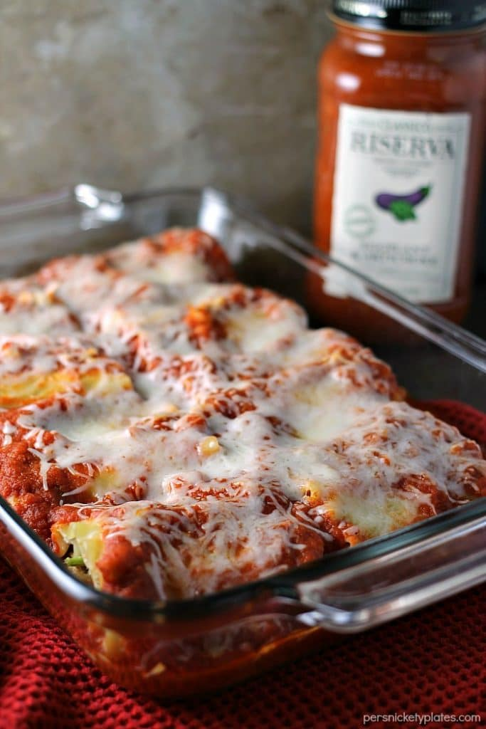 These Veggie Lasagna Roll-Ups are filled with spinach, zucchini, and cheeses and smothered in Classico Riserva's new Eggplant and Artichoke sauce.   Persnickety Plates