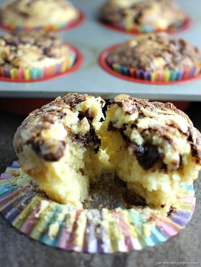 nutella muffin split in half on cupcake wrapper