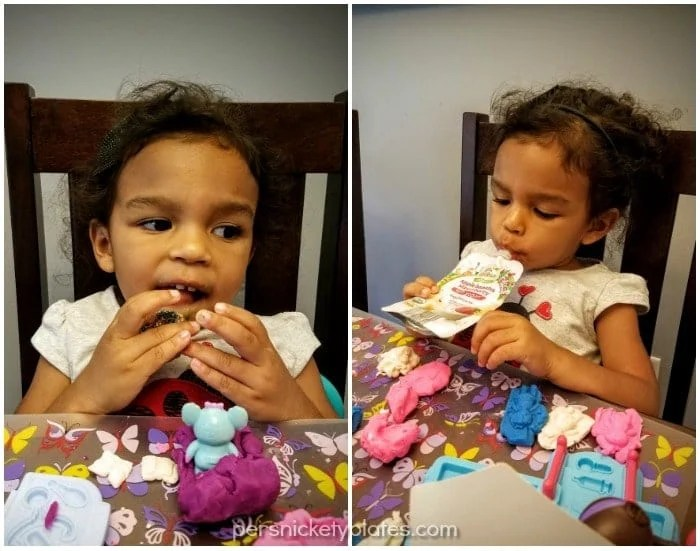 Frozen Yogurt Bites are a fun snack for toddlers and are simple to make using ALDI Little Journey baby food pouches. | Persnickety Plates