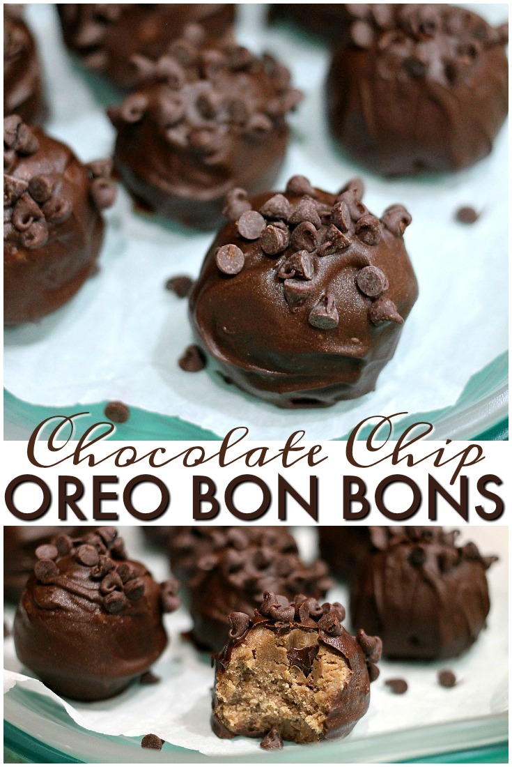 Only four ingredients in these simple Chocolate Chip Oreo Bon Bons. They are a sweet little no-bake treat using Choco Chip Oreos. | Persnickety Plates via @pplates