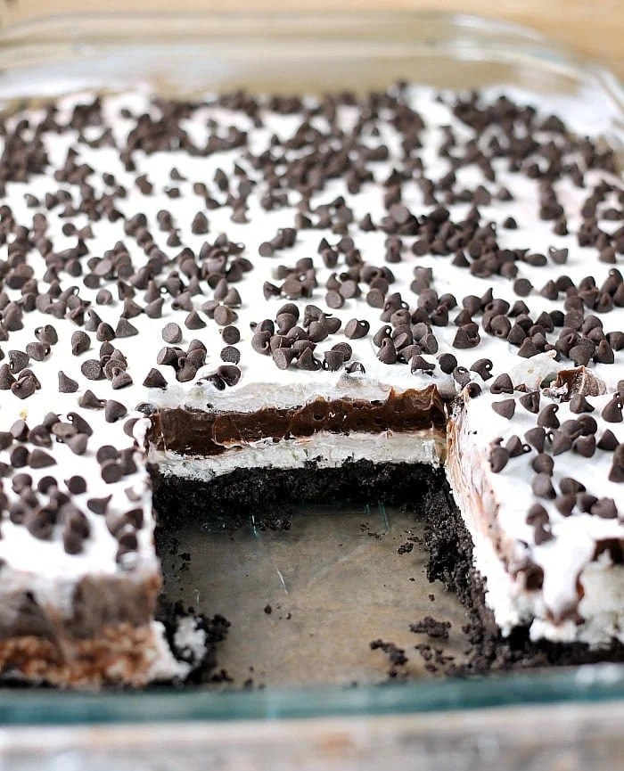 Chocolate lovers rejoice! This no bake Chocolate Lush is filled with cream cheese, chocolate pudding, and chocolate chips on top of an Oreo cookie crust! | Persnickety Plates