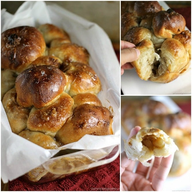 Apple Filled Pull Apart Bread is sticky and sweet and easy to make with the help of Rhodes Dinner Rolls! Pick your favorite fall apples and let your kids help you put together this simple dessert. | Persnickety Plates