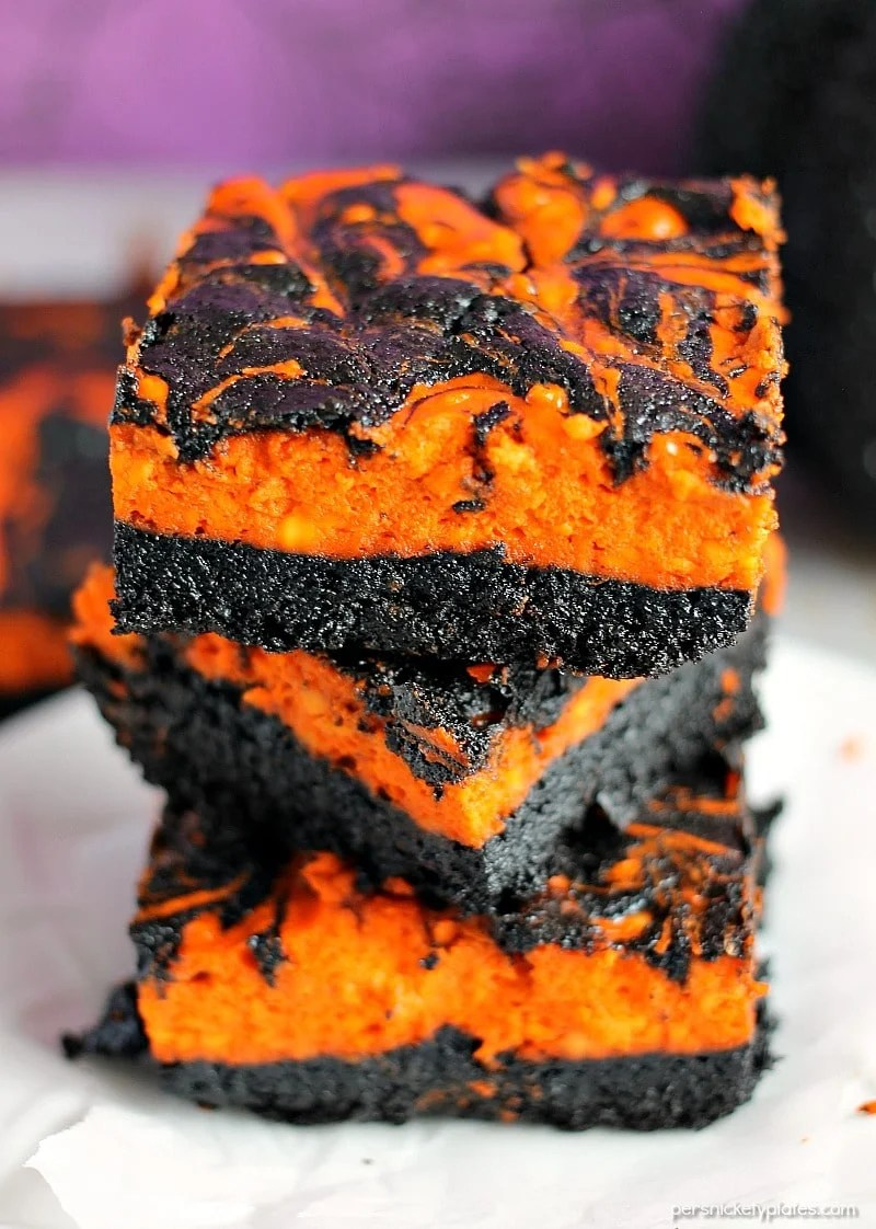 Halloween Cream Cheese Swirl Brownies, by Persnickety Plates