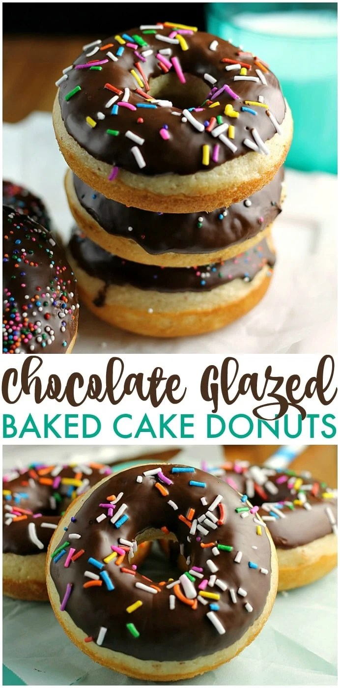 Chocolate Glazed Baked Cake Donuts covered in sprinkles. Homemade donuts are probably easier to make than you think and you can save a trip to the donut shop! | www.persnicketyplates.com via @pplates