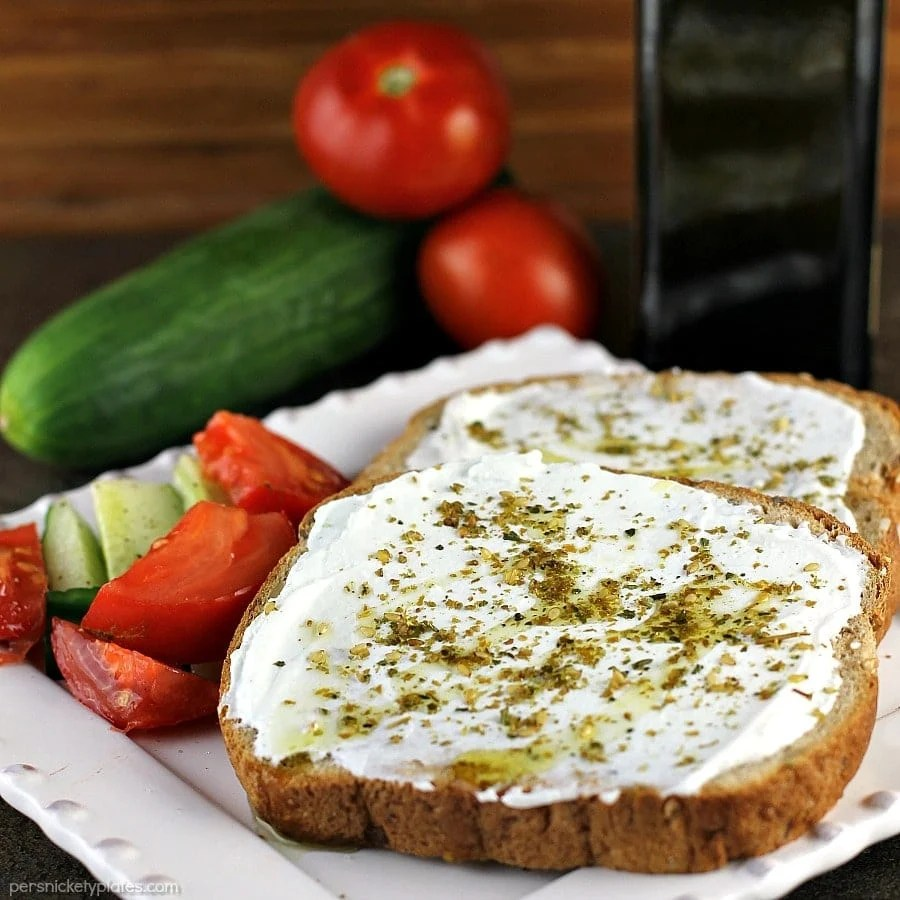Labneh Za'atar Toast takes just a few simple ingredients but it comes together for a quick, filling, and healthy meal.   Persnickety Plates