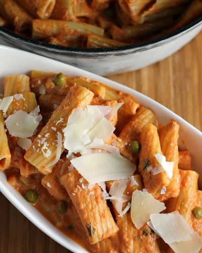 Vodka Rigatoni is creamy, comforting and easy even though it's made from scratch and it pairs beautifully with Eggplant Parmesan found in the freezer aisle.   Persnickety Plates