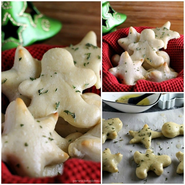 Holiday Garlic Herb Rolls are a fun and festive way to put a twist on the traditional roll for your holiday dinners and a perfect way to let your little helpers get involved in the kitchen! | www.persnicketyplates.com