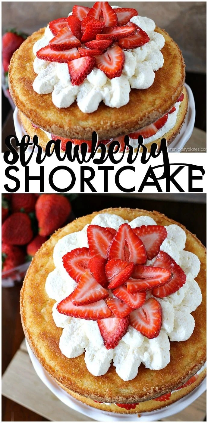 Strawberry Shortcake Cake is a rustic vanilla layer cake filled with a whipped cream cheese frosting and fresh strawberries. Easy, impressive, and SO good! | www.persnicketyplates.com AD via @pplates