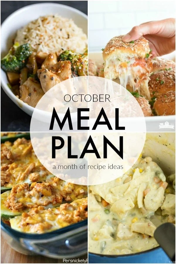 If you struggle to plan dinner ideas every night like me, we have some recipe ideas for you. This October Meal Plan will help make dinner quick and easy. | www.persnicketyplates.com via @pplates