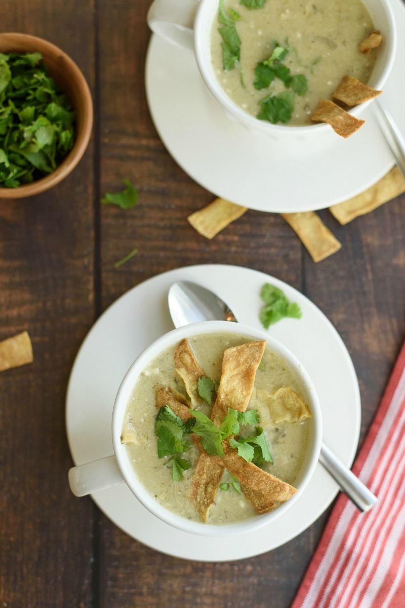 overhead of two bowls of slow cooker chicken enchilada soup with cilantro