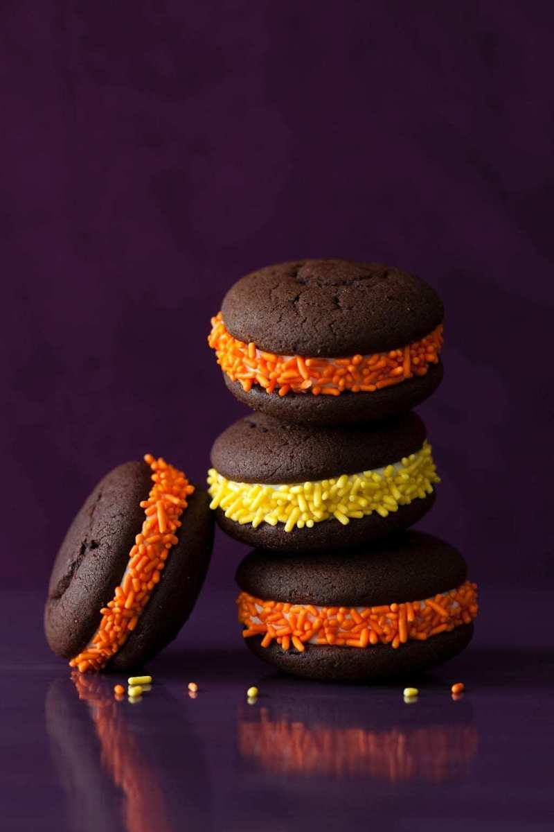 stack of halloween colored whoopie pies