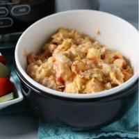 bowl full of king ranch chicken casserole