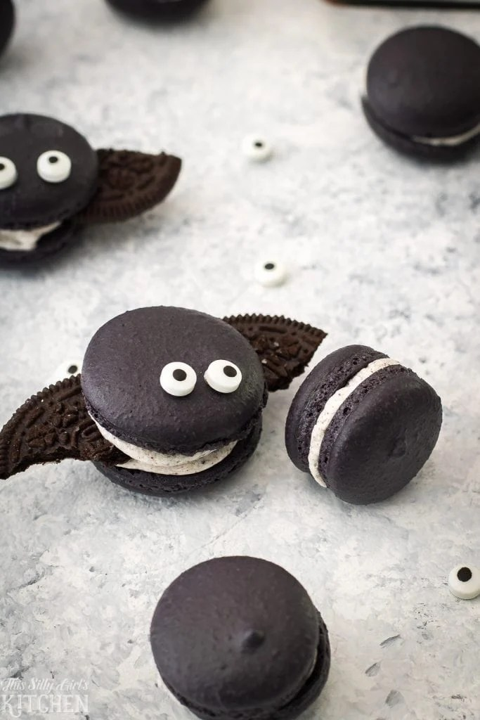 chocolate macarons shaped like bats