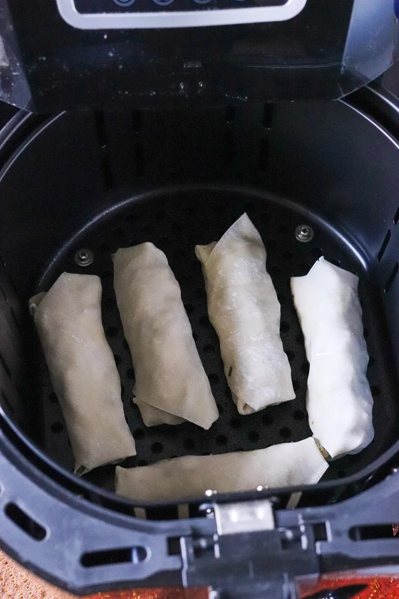 five egg rolls in air fryer basket