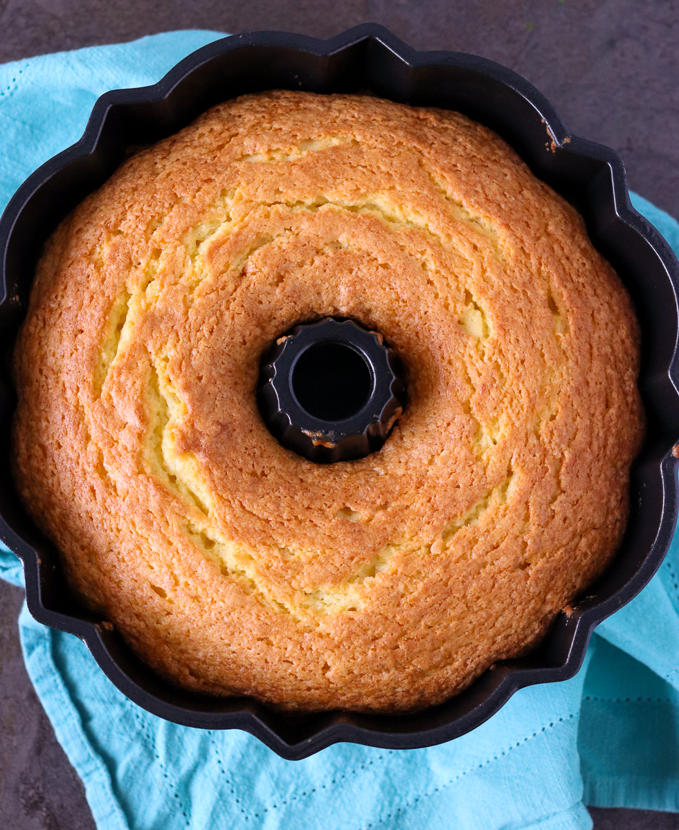 overhead shot of lemon pudding cake in bundt pan