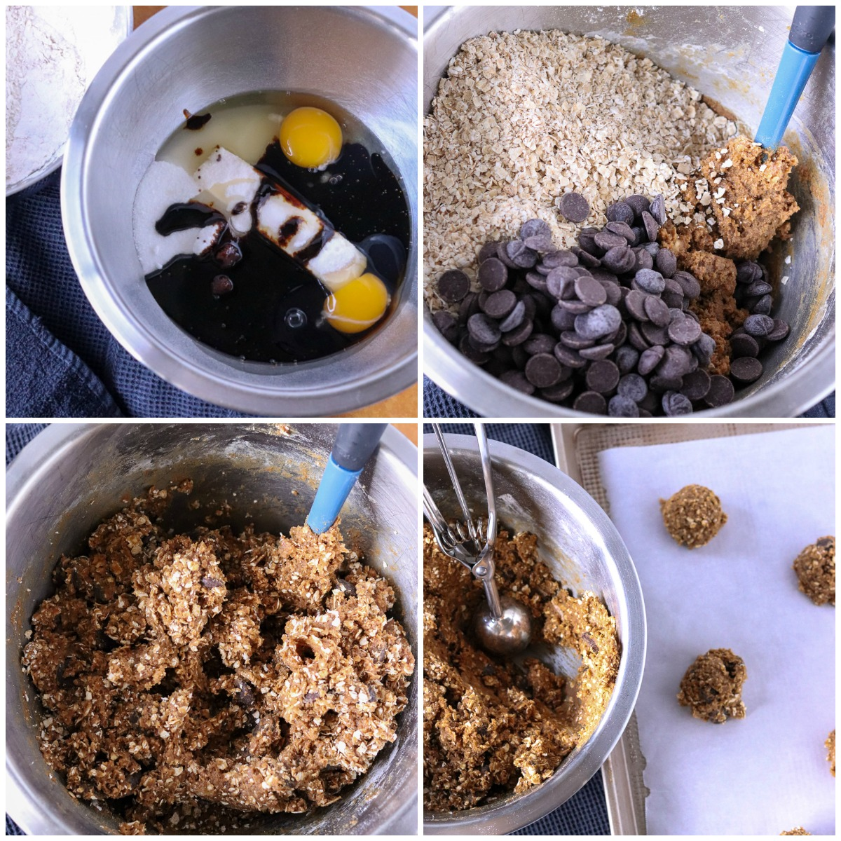 collage of mixing bowl making oatmeal cookies