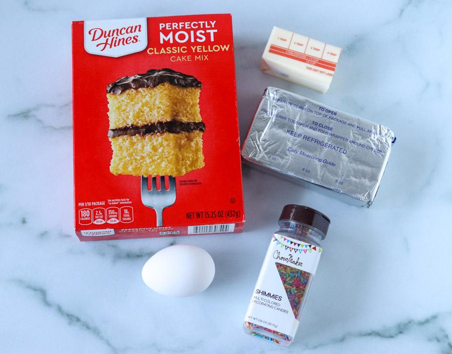 ingredients for cream cheese sprinkle cookies